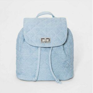 NEW Art Class Quilted Blue Denim Backpack